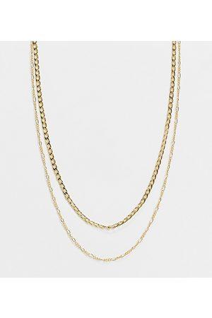 Orelia – Mehrreihige, vergoldete Halskette mit Figaro- und flachen Kettengliedern-Goldfarben