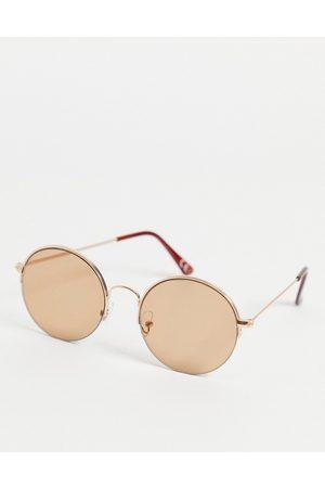 ASOS – Runde, goldene Sonnenbrille im Stil de 70er-Jahre mit hellbraunen Gläsern-Goldfarben