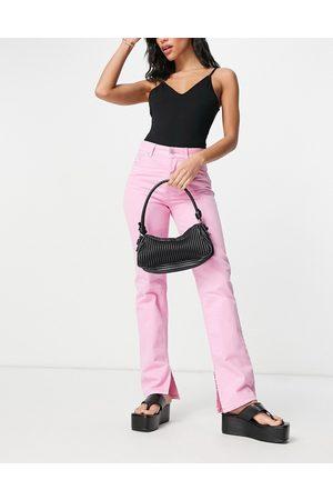 ASOS – Jeans mit halbhohem Bund, geradem Bein und Saumschlitz im Stil der 90er in Pink