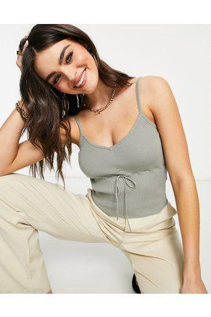 Fashion Union Damen Spaghettitops - – Geripptes, kurzes Strick-Camisole mit Schleifendetail, Kombiteil