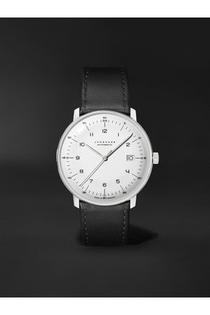 Junghans Herren Uhren - Max Bill Automatic 38mm Stainless Steel and Leather Watch, Ref. No. 027/4700.02