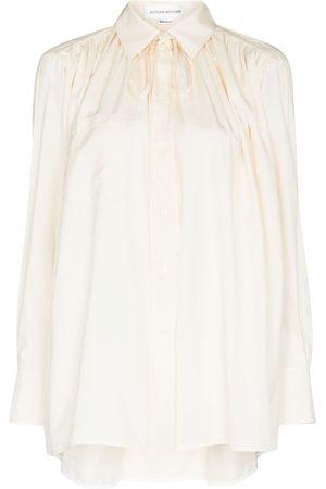 Victoria Beckham Damen Blusen - Seidenbluse mit Schleifenkragen - Nude