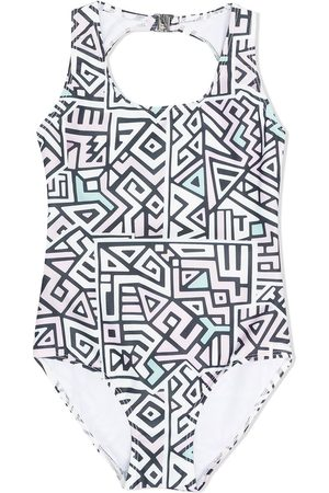 Le pandorine Mädchen Badeanzüge - Badeanzug mit geometrischem Print - Nude