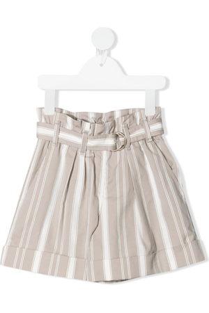 Brunello Cucinelli Mädchen Shorts - Gestreifte Shorts mit Gürtel - Nude