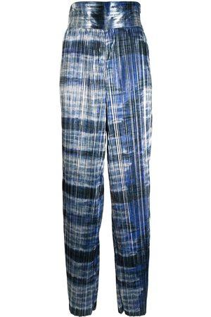 Semsem Damen Weite Hosen - Metallic-Hose mit weitem Bein