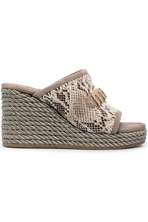 Mou Damen Sandalen - Sandalen mit Schlangenleder-Optik - Nude