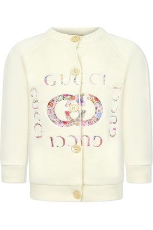 Gucci Strickjacken - Cardigan mit geblümtem Logo