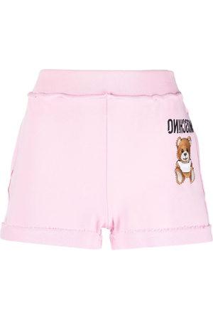 Moschino Damen Shorts - Embroidered-logo track shorts