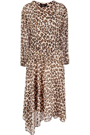 Liu Jo Asymmetrisches Kleid mit Leoparden-Print - Nude