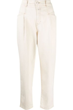 Closed High-waisted tapered trousers - Nude