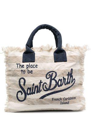 MC2 SAINT BARTH Logo-print frayed beach bag - Nude