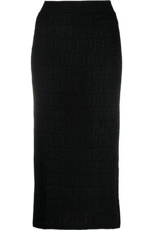 Fendi Damen Midiröcke - Monogram knitted midi skirt