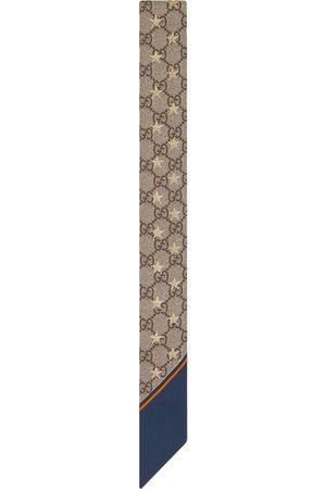 Gucci GG star-print silk scarf - Nude