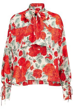Ganni Bedruckte Bluse aus Seidensatin