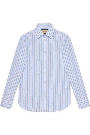 Gucci Herren Freizeit - Hemd aus Fil Coupé mit GG Streifen-Motiv