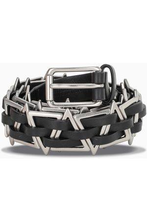 Bottega Veneta Black leather belt with metal triangles