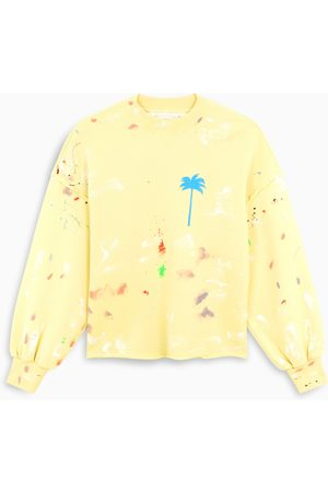 Palm Angels Yellow paint-detail hoodie