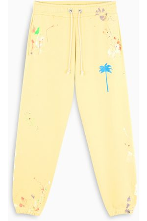 Palm Angels Yellow paint-detail joggers