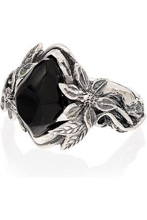 Lyly Erlandsson Herren Ringe - Aria' Sterlingsilber-Ring mit Stein - Silver - Black