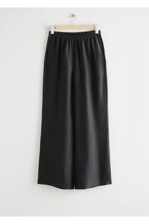 & OTHER STORIES Relaxed Silk Trousers - Black