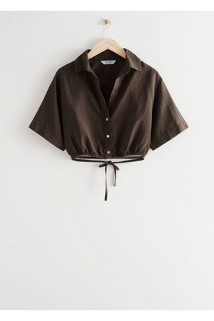 Other Stories Buttoned Tie Detail Crop Top - Brown