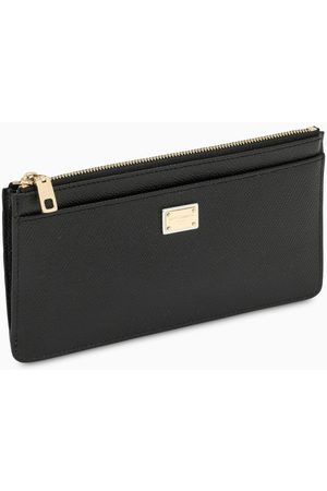 Dolce & Gabbana Black Dauphine leather zipped card holder