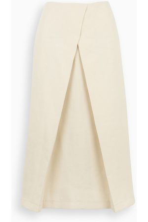 LE 17 SEPTEMBRE Ivory linen flared skirt
