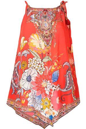 Camilla Damen Tanktops - Paisley-print handkerchief-hem blouse