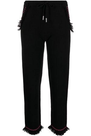 MAX & MOI Damen Capris - Frayed contrast-stitch trousers