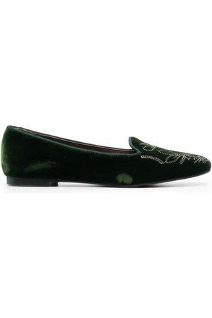 10 CORSO COMO Studded velvet ballerina shoes