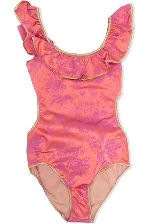 Oseree Mädchen Badeanzüge - Floral print ruffled swimsuit