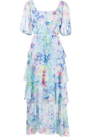 Marchesa Notte Kleid mit Puffärmeln - Mehrfarbig