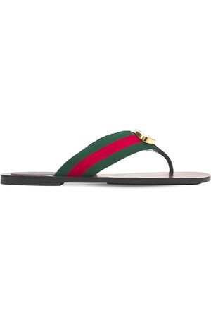 Gucci Damen Schuhe - 10mm Hohe Zehenstegsandalen Aus Gg-gewebe