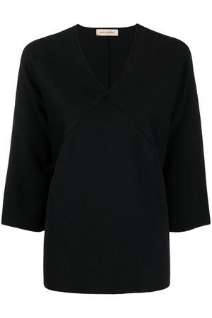 Gentry Portofino Panelled V-neck silk top