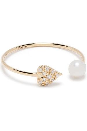 Mizuki 14kt Gelbgoldring mit Perle und einem Diamanten