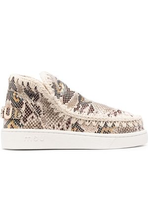 Mou Snakeskin-effect ankle boots - Nude