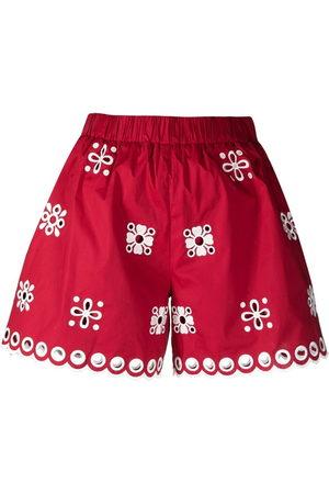 RED Valentino High-Waist-Shorts mit Lochstickerei
