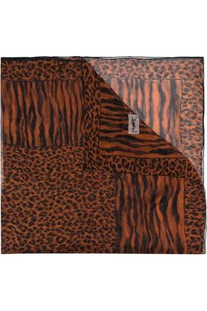 Yves Saint Laurent Seidenschal mit Leoparden-Print