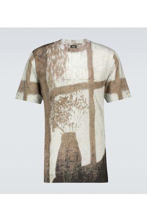 Fendi Bedrucktes T-Shirt aus Leinen