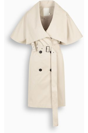 The Loom Damen Trenchcoats - Ivory short-sleeved trench coat with wide collar