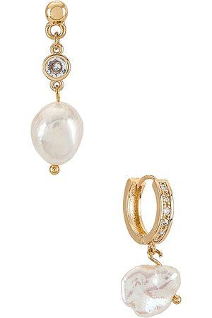 Ettika Pearl Drop Earrings Set in .