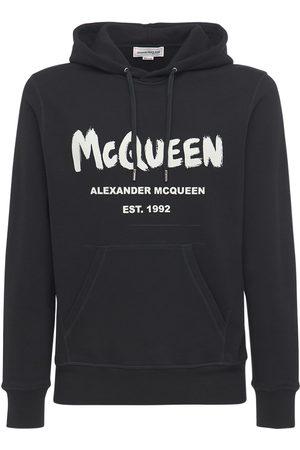 Alexander McQueen Herren Sweatshirts - Hoodie Aus Baumwollfleece Mit Druck