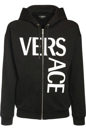 VERSACE Herren Sweatshirts - Hoodie Aus Fleece Mit Logodruck