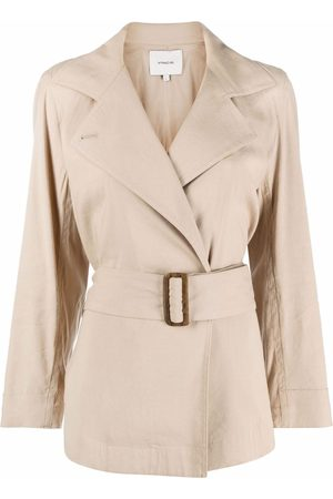 Vince Double-breasted belted blazer - Nude