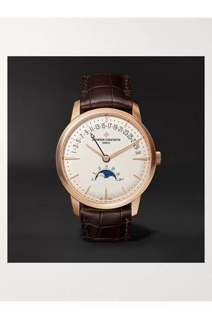 Vacheron Constantin Patrimony Moon-Phase and Retrograde Date Automatic 42.5mm 18-Karat Pink Gold and Alligator Watch, Ref. No. 4010U/000R-B329