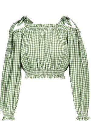 ALEXANDRA MIRO Exklusiv bei Mytheresa – Karierte Bluse aus Baumwolle