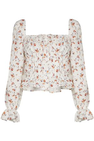 Reformation Floral-print long-sleeve blouse