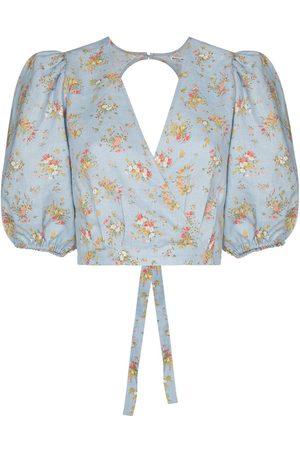 Reformation Damen Blusen - Floral-print wraparound blouse