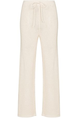 Reformation Damen Jogginghosen - Open-knit drawstring trousers - Nude