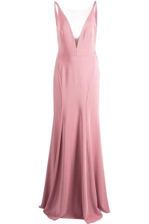 Marchesa Notte Crema plunging V-neck dress